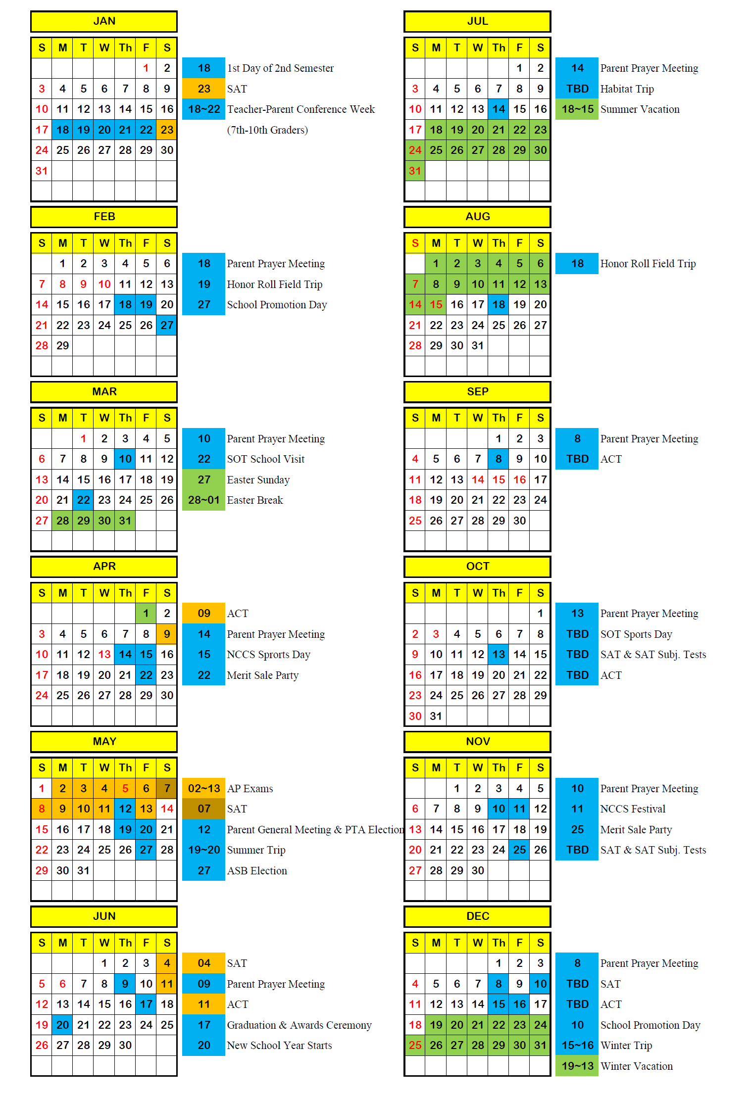 NCCS Calendar 2016